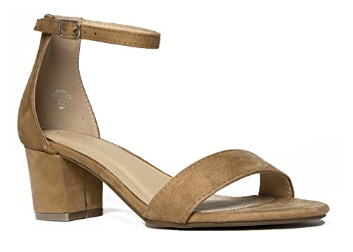 J. Adams Ankle Strap Kitten Heel - Adorable Low Block Heel - Daisy by Tan Suede*
