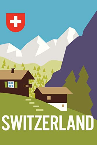 Switzerland Swiss Alps Mountain Range Vintage Travel Art Mural Giant Poster 36x54 inch ()