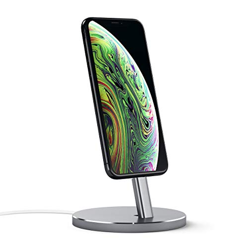 Satechi Aluminum Desktop Smartphone Charging Stand - Compatible with iPhone Xs Max/XS/XR/X, 8 Plus, 8, 7 Plus, 7 and More (Space Gray)