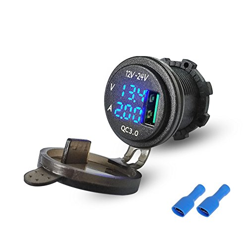 Rydonair waterproof quick charge 3.0 usb car charger socket with Blue LED Digital Voltmeter and Ammeter for Rocker Switch Panel on Car Marine ATV UTV Golf Carts Tractor by RYDONAIR