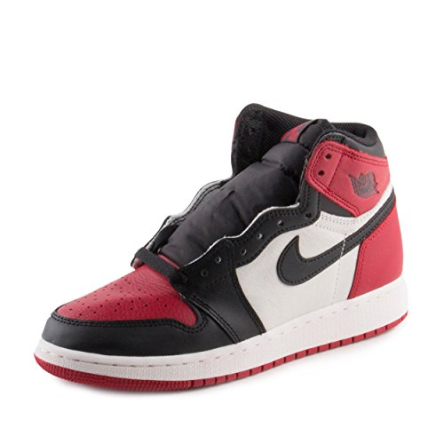 NIKE Boys Air Jordan 1 Retro High OG BG Bred Toe Red/Black-White Leather Size 7Y by NIKE
