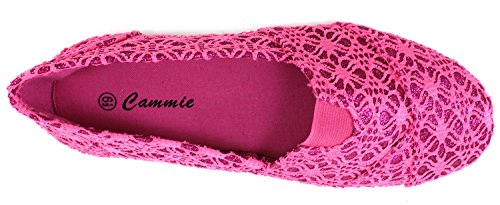 Cammie Womens Canvas Slip On Fashion Shoe Flats Espadrilles Glitter Fuchsia FpY90K