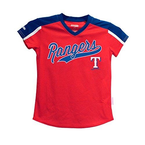 MLB Texas Rangers Girls V-Neck Jersey Top, Large, Royal