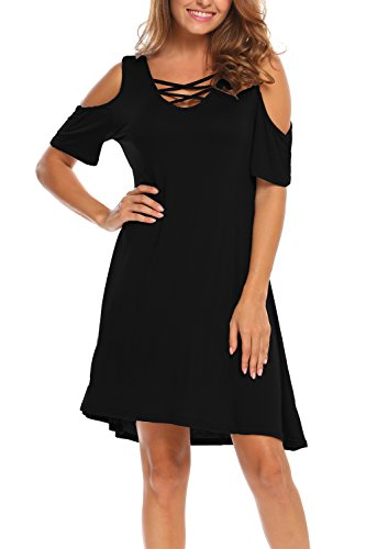 Bluetime Women Cross Neck Summer Short Sleeve T-Shirt Simple Style Dress (XXL, Black)