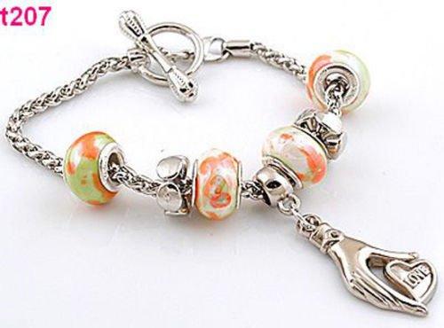 (Handmade metal & porcelain lobster special clasp European charm bracelet t207)