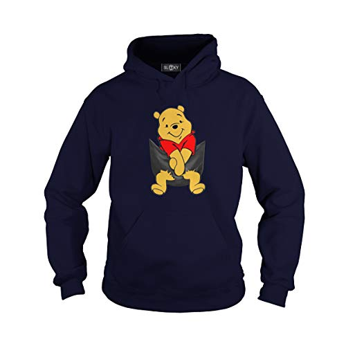Unisex Pocket Pooh Adult Hooded Sweatshirt (S, Navy)]()