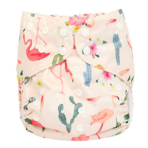 2 to 7 Years Old Junior Big Cloth Diaper Pocket Reusable Washable Baby Toddler (Flamingo Cactus)