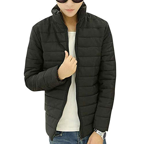 Quilted Jacket Men's Long Sleeve Stand-Up Jacket Parka Warm Collar Down Young Fashion Hooded Jacket Winter Jacket Packable Ultra-Light Down Jacket Schwarz
