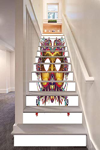 Mardi Gras 3D Stair Riser Stickers Removable Wall Murals Stickers,Ornate Floral Details on Yellow Eye Mask Traditional Holiday Carnival Festival Decorative,for Home Decor 39.3