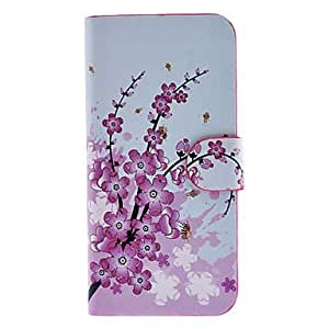 Pink Wintersweet Pattern Full Body Case with Card Slot and Built-in Matte PC Back Cover for iPhone 5/5S