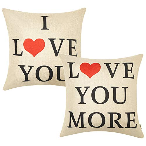 Anickal Valentine's Day Home Decorations Set of 2 Decorative Pillow Covers I Love You Love You More Cotton Linen Cusion Cover 18 x 18 ()