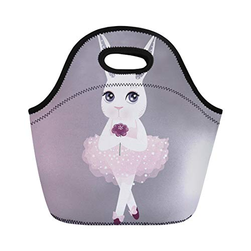 Semtomn Neoprene Lunch Tote Bag Cute Bunny in Pink Dress Happy Easter Cartoon Rabbit Reusable Cooler Bags Insulated Thermal Picnic Handbag for Travel,School,Outdoors, Work
