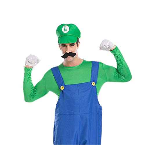 Men's Super Mario Costume Adult Costume Mario Brothers Halloween Cosplay Outfits (XL, Green)