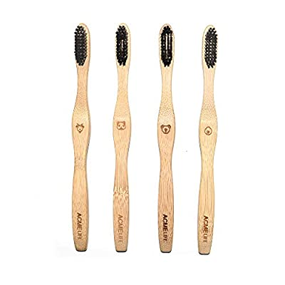 SAILSWORD Bamboo Toothbrush Natural Eco Friendly, Ergonomic Design Recyclable And Biodegradable, Soft BPA free Wavy Bristles, Pack of 4