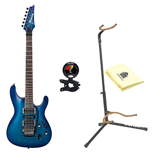 Ibanez S670QM S Series Solid Body Electric Guitar Sapphire Blue with Ultra 2445BK Basic Guitar Stand, Snark SN5X Clip-On Tuner for Guitar and Custom Designed Instrument Cloth Ultra 2445bk Guitar Stand