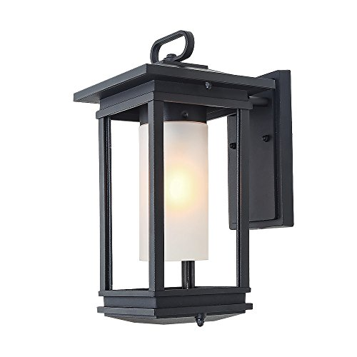 Rectangular Candle Sconce - LALUZ Outdoor Wall Sconce One Exterior Classic Lantern Lighting Fixture with Frosted Glass and Sandy Black Finishes, for Entryway, Yards, Front Porch, UL Listed, Use E26 Bulbs (not Included), A03277