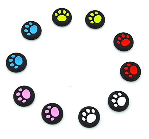 YOUZUO 5 Pairs 10 Pcs Thumb Stick Grips Cap Cover Joystick Thumbsticks Caps for PS4 Xbox ONE Xbox 360 PS3 PS2 Cat Dog Paw 360 Game-Controller (Dog Games For Ps3)