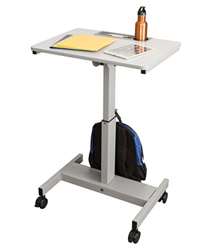 "Crank Adjustable Height Student Desk | Classroom Desk - Lets Kids Stand or Sit While They Learn, 27.5"" W, White Top and Gray Frame (Crank, Grey)"