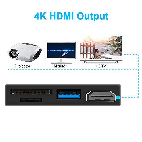 Surfacekit USB C Hub for Surface Go, 4K 1080p HDMI, USB 3 0
