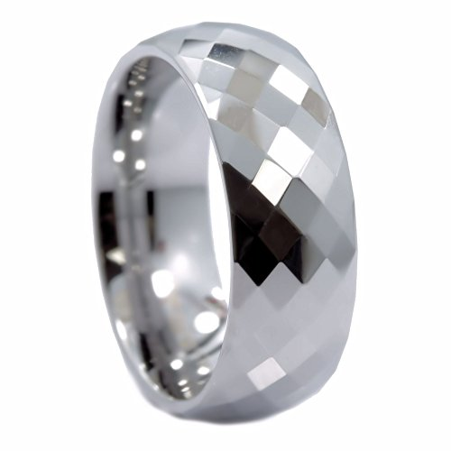 MJ Metals Jewelry 8mm Honeycomb Ring with Diamond Pattern Tungsten Carbide Wedding Band Ring Size 11 ()