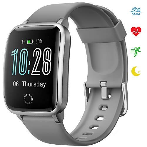 Smartwatch, Reloj Inteligente Pantalla curva Impermeable IP68 Pulsera de Actividad para Hombres y Mujeres, Inteligente con Pulsómetros Podómetro Contador de Caloría con Cronómetro para iOS y Android