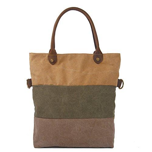 Sogar Women Ladies Vintage Canvas Shoulder Bag Messenger Crossbody Bag Satchel Handbag Khaki