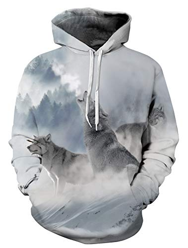 GLUDEAR Unisex Children Realistic Cool 3D Wolf Print Pullover Hoodie Hooded ()