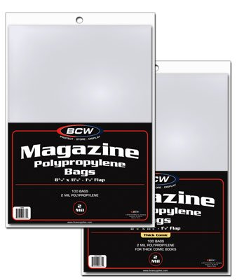(100 Non-Resealable BCW Thick Magazine Poly Bags and 100 Magazine Backer Boards)