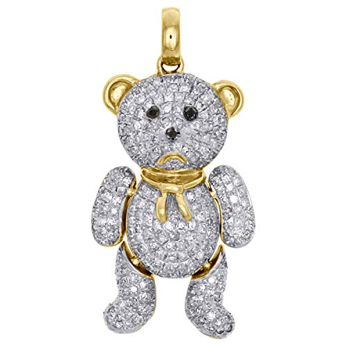 14k Yellow Gold Plated 925 Sterling Silver 2.00 Ct Round Cut Simulated Diamond Teddy Bear Pendant With 18
