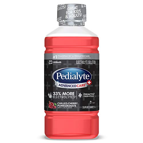 Pedialyte AdvancedCare+ Electrolyte Drink with 33% More Electrolytes and has PreActiv Prebiotics, Cherry Pomegranate, 1 Liter, 4 Count