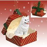 Samoyed Red Gift Box Christmas Ornament
