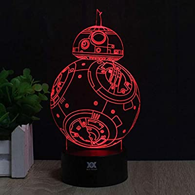 3D Lamp Fuwa Force Awaken Bb-8 Night light 7 Color Change Best Gift Night Light LED Desk Table Lighting Home Decoration Toys Designed by HUI YUAN: Home Improvement