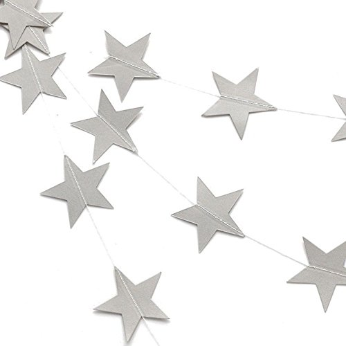 Silver Glitter Twinkle Star Garland - Sparkling Paper Banner Bunting Hanging Decoration Party Supplies - 13 Feet ( 2 Pcs )