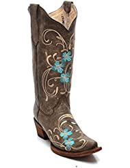 Corral Circle G Boot Womens 12-inch Distressed Leather Floral Embroidery Snip Toe Brown/Turquoise Western Boot