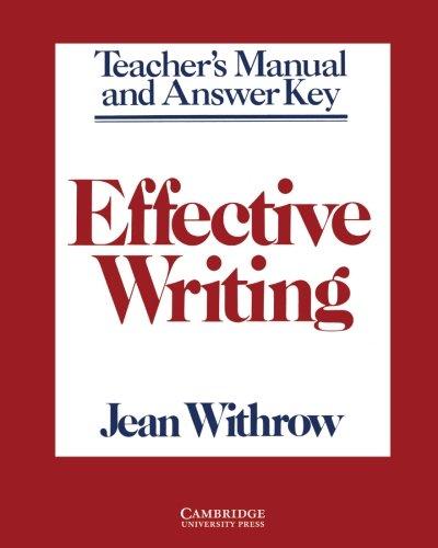 Effective Writing Teacher's Manual: Writing Skills for Intermediate Students of American English