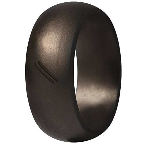 ThunderFit Silicone Wedding Ring for Men, Rubber Wedding Band (Antique Bronze, 7.5-8 (18.2mm)) (Engagement Bands Antique)