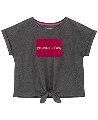 Calvin Klein Girls Girls' Tie Front Tee Shirt Short Sleeve T-Shirt - Gray - 4