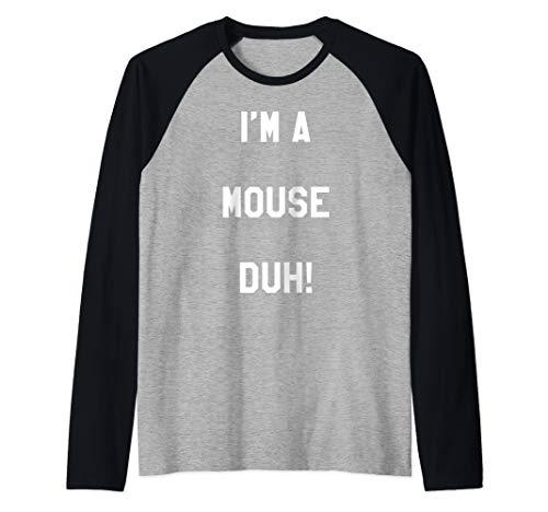 I'm A Mouse Duh Cute Easy DIY Funny Halloween Costume Gifts Raglan Baseball Tee