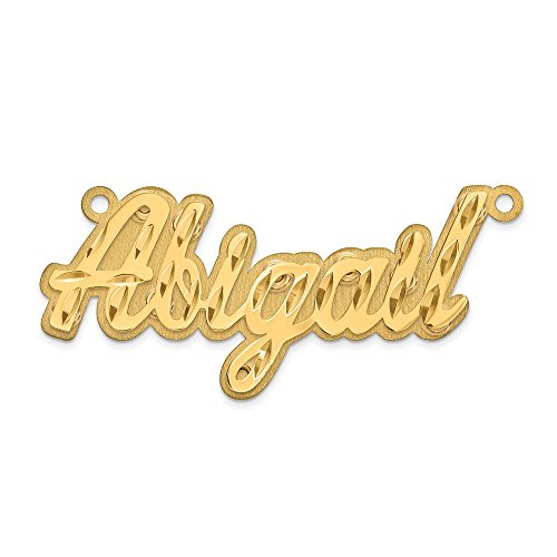 14k Yellow Gold Polished Diamond-Cut 3D Name Plate (Polished Nameplate 3d)