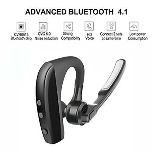 Bluetooth Headset V4.1 In-Ear Wireless Hands Free Headphone with Mic for Truck Driver,Business - Compatible with iPhone, Android AUXBLUE (Black) by AUXBLUE