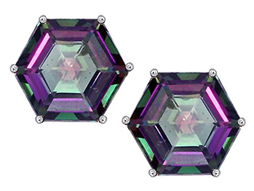 Star K Fancy Octagon Cut Earrings Studs with Rainbow Mystic Quartz Sterling Silver