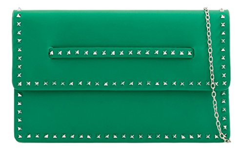 Bag Clutch Small Green Girly HandBags Studs qw7xTU