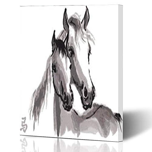 - Aika Designs Canvas Prints Wall Art Grey Horse Sumie Mother Arabian Mare Wildlife Asian 12 x 16 Inches Modern Painting Decor Stretched Wooden Framed Wrapped Artwork