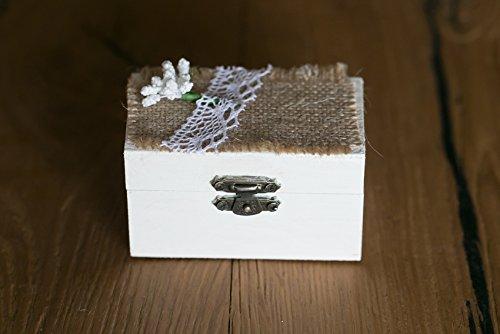 Caja de anillos boda de madera blanca,caja alianzas decorada a mano con encaje,