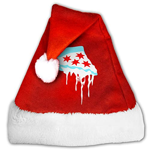Sy66L@ Red and White Santa Hat, Naughty Deep Dish Chicago Candy Hat for Childrens and Adults (Best Deep Dish Delivery Chicago)