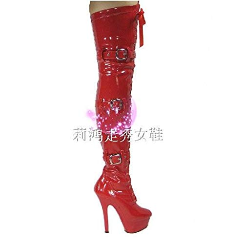 15 dance leather night leather heels High boots PU gules club boots cm ngqXXUx