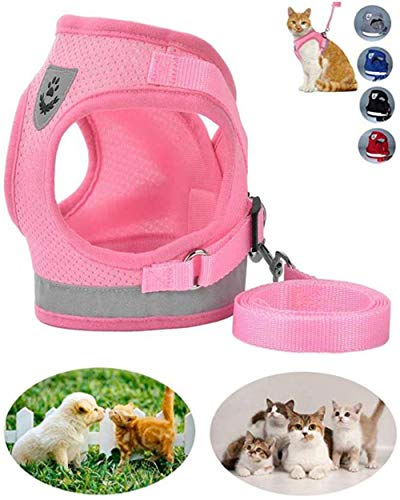 - GAUTERF Dog and Cat Universal Harness with Leash Set, Escape Proof Cat Harnesses - Adjustable Reflective Soft Mesh Corduroy Dog Harnesses - Best Pet Supplies (X-Small, Pink)