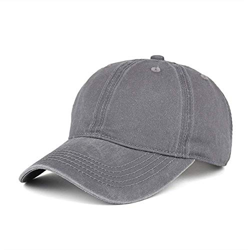 Grey 6 Panel Cotton Twill - WINCAN Washed Dyed Cotton Twill Low Profile Adjustable Baseball Cap Denim 6 Panel Stitch Baseball Hat (Grey)