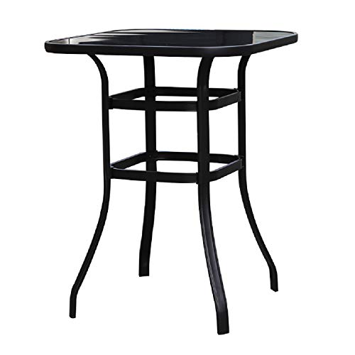 LOKATSE HOME Outdoor Bistro Bar Height Table Metal Frame Square Tempered Furniture Glass Top All Weather for Patio, Black