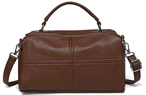 Crossbody Bags for Women,VASCHY Vegan Leather Top Handle Satchel Handbag Fashion Shoulder Bag Purse (Brown)